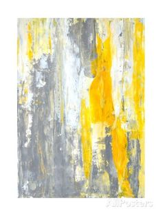 Grey and Yellow Abstract Art Painting Art by T30Gallery - AllPosters.co.uk