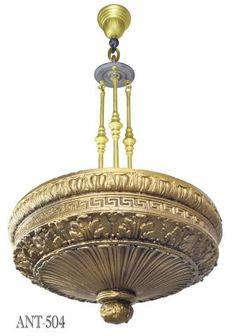 Antique Original Edwardian Cast Composition Plaster Ceiling Bowl Chandelier Lights (ANT-504)
