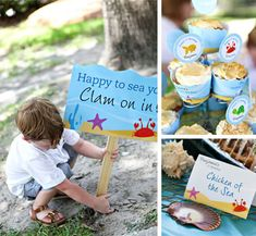 This Under the Sea birthday party is so sweet! Lots of ideas for food, favors, and party decor. Great inspiration for an Under the Sea birthday party! Octonauts Party, 4th Birthday Parties, Birthday Ideas, 2nd Birthday, Mermaid Birthday, Little Mermaid Parties, Nautical Party, Under The Sea Party, Party Entertainment