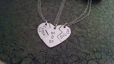 3 Piece Heart Necklace Mother Daughter by DawnsMetalDesigns