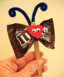 Cute Secret Sister craft... I use a clothes pin with a wood heart and bug eyes.