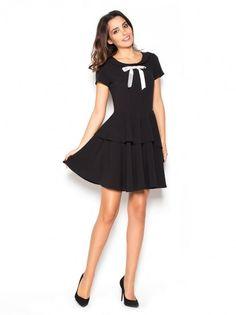 Dámske šaty s krátkym rukávom KATRUS - čierna Fit Flare Dress 89237660d64