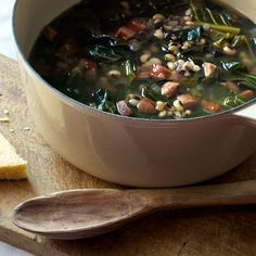 Black-Eyed Pea Soup with Andouille & Collards   |    If you didn't get your lucky dose of peas, greens, and ham on New Year's Day, now is your chance. This is a perfect weeknight dinner. It's quick to put together and just needs about an hour on the stovetop.  Serve over a bowl of crumbled cornbread and you've got yourself a perfect Southern meal.