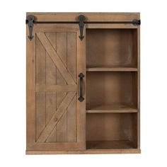 wall Storage With Doors - Kate and Laurel Cates Wood Wall Storage Cabinet with Sliding Barn Door (Rustic Brown). Wall Storage Cabinets, Wall Mounted Bathroom Cabinets, Wall Shelving Units, Cabinet Shelving, Cabinet Decor, Bathroom Wall, Wall Shelves, Tall Cabinet Storage, Bathroom Ideas