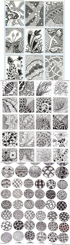 Zentangle Patterns & Ideas - I thought they were just doodles.but I guess its a zentangle pattern. Doodles Zentangles, Zentangle Drawings, Zentangle Patterns, Doodle Drawings, Doodle Art, Zen Doodle Patterns, Heart Patterns, Zantangle Art, Art Graphique