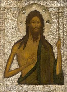 "John the Baptist"" From the Local (Veneration) tier of the iconostasis of the aisle ""The entry into Jerusalem"" in the Annunciation Cathedral. Russia, Moscow, The icon cover — the XVIth century. Byzantine Icons, Byzantine Art, Russian Icons, Russian Art, Religious Icons, Religious Art, Jean Baptiste, John The Baptist, Christ"