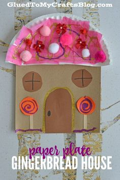 Paper Plate Gingerbread House - Kid Craft - Glued To My Crafts Christmas Crafts For Kids, Christmas Projects, Kids Christmas, Holiday Crafts, Xmas, Spring Crafts, Gingerbread Man Activities, Gingerbread Crafts, Gingerbread Men