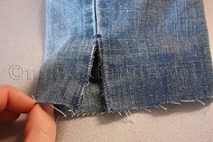 Making jeans into shorts - how to add a slit at the side to make them lay properly