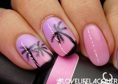 Pink Gellac Blossom Collection palmtree nail art