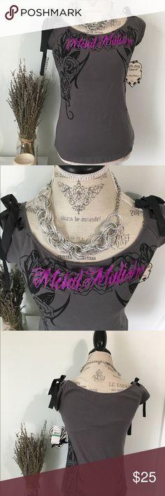 Metal Mulisha Top Grey & Pink Metal Mulisha Top with ribbon tied sleeves and camisole bra attached. 95% Cotton 5% Elastane Metal Mulisha Tops Tees - Short Sleeve
