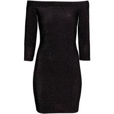 H&M Off-the-shoulder dress ($18) ❤ liked on Polyvore featuring dresses, vestidos, black, 3 4 length sleeve dress, 3/4 sleeve dress, short dresses, h&m dresses and three quarter sleeve dress