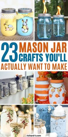 23 Easy DIY Mason Jar Crafts That Look Spectacular 23 Easy DIY mason jar crafts that are really amazing! These mason jar crafts are perfect for gifts, crafts to sell or just to keep around the house! Fall Mason Jars, Mason Jar Lanterns, Mason Jar Gifts, Mason Jar Diy, Mason Jar Bathroom, Diy Galaxy Jar, Pots, Mason Jar Projects, Diy Projects