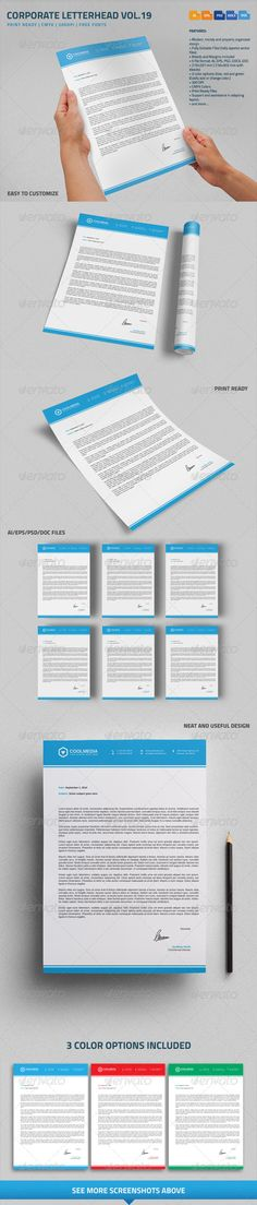 Corporate Letterhead vol.19 with MS Word DOC/DOCX #business #psdtemplate #corporate #creative #printready #letterhead #elegant #original #personal #simple #trendy #letter #a4 #blank #logo #stationary #word #identity