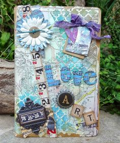Lorraine's Loft: My 1st Art Journal Cover and Gelli Printing! Here is what I did using a selection of stencils and colours ,,,,, as you can see I have die cut a tag and a heart from 2 of them and I used them on the front of my art  journal