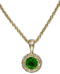 Brasilica by Effy Emerald (1/3 ct. t.w.) and Diamond Accent Round Button Pendant in 14k Gold