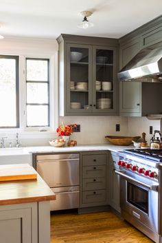 BM Amhurst Gray Color Outside the Lines: Green Kitchen Cabinets