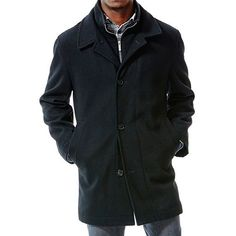 Haggar® Classic-Fit Quilted Melton Wool Blend Double-Collar Jacket - Men