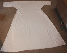 18th century chemise, laid out flat before cutting the neck opening.