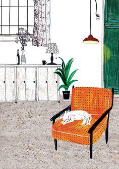 by Kim Hyerim House Drawing, Poster S, Flat Illustration, Cat Art, Art Inspo, Watercolor Art, Illustrators, Artsy, Drawings