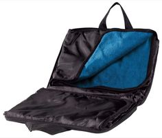 Fleece Stadium Blanket/Cushion Water resistant back,zippered carry handle/Blue
