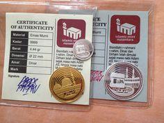 1 Dinar 4.44 gram (9999), 1 Dirham 3.11 gram (999) and 1 Daniq (1/6 Dirham) 0.518 gr. Islamic Mint Nusantara, Open Mitsqal Exchange (OME)