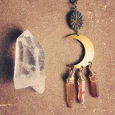 Peach mystic quartz crescent moon necklace by Roots and Feathers
