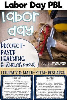 These Labor Day themed project-based learning and enrichment projects put ownerhsip of learning into your student's hands and enrich your students through independent work study. Engage your classroom during your Labor Day unit with these ten printables t