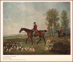 FOX HUNTING, MAJESTYS HARRIER DOGS, VINTAGE PRINT, AUTHENTIC 1927