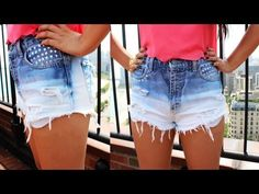 WATCH my other DIY shorts videos :  DIY: Destroyed Denim Cross Shorts (2 Style)   http://www.youtube.com/watch?v=TJXQYNZ0l_0    DIY Bright Pink Blue Gradient Shorts under $10  http://www.youtube.com/watch?v=ANTF7As84_8    Stars & Peace sign from Micheal's Arts and Crafts  The jeans were 2.99 at the thrift short   Scallop Pink Top From Dry Goods   Fergie B...