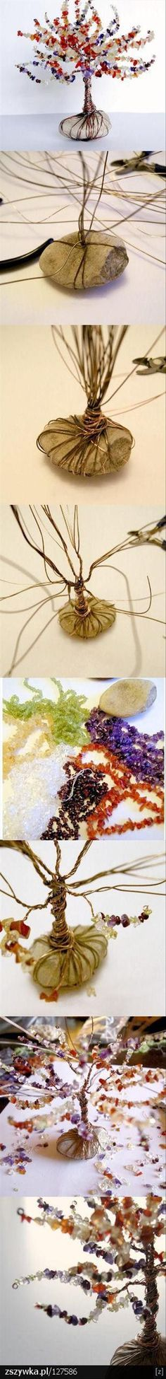"""DIY beads: DIY beads and wire tree ~ wrap a big """"stone"""" with """"wire"""" and add … - Art Decoration Diy Projects To Try, Crafts To Do, Craft Projects, Arts And Crafts, Craft Ideas, Diy Ideas, Easy Crafts, Decor Ideas, Cool Crafts"""