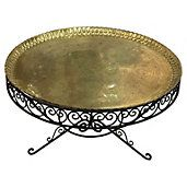 Brass Tray & Wrought Iron Coffee Table