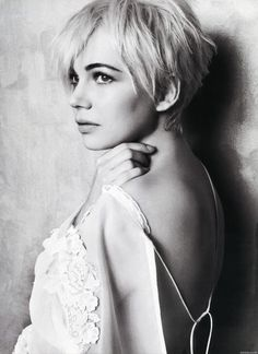 "Michelle Williams. ""I cut it for the one straight man who has ever liked short hair and I wear it in memorial of somebody who really loved it."" <3"