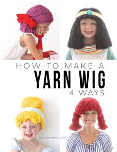Does your Halloween costume need a yarn wig. Learn how to make 4 different yarn wigs. Hallowen Costume, Costume Wigs, Diy Costumes, Diy Halloween, Zeus Costume, Hagrid Costume, Kids Dress Up Costumes, Crochet Halloween Costume, Wig Styling
