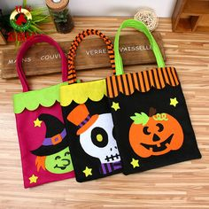 Fashion Halloween Party Trick or Treat Pumpkin Bag Kids Gift Loot Sweets Candy Tote Party Storage Bags Dulceros Halloween, Moldes Halloween, Adornos Halloween, Manualidades Halloween, Halloween Treat Bags, Halloween Ornaments, Holidays Halloween, Halloween Pumpkins, Halloween Decorations