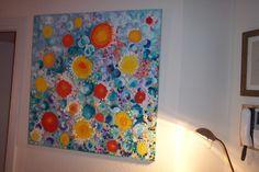 Jasmina Vladimirova, Fleurs d'eau, Huile sur toile, 90x90 cm, Collection privée