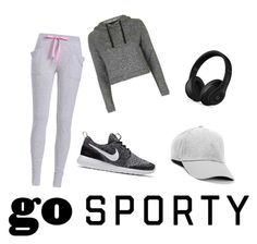 """sporty and gray"" by therealexandra on Polyvore featuring Topshop, NIKE and Beats by Dr. Dre"