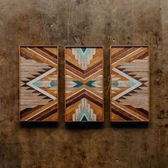 Likes, 3 Comments - 1767 Wood Wall Decor, Diy Wall Art, Wood Wall Art, Wood Artwork, Carpentry Projects, Aztec Art, Wood Mosaic, Southwest Decor, Barn Quilts