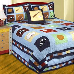 New pottery barn kids jake sports quilt standard sham for Jake quilted bedding
