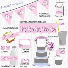 Imprimible Unicornio rosa mind Happy, Pink, Garlands, Unicorn, Happy Birthday, Printables, Stickers, Bottles, Party