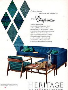 in your choice of exclusive new Cohama fabrics. Ad is in good condition with tanning around the edges. This ad has been carefully removed from an original period magazine. A wonderful original full-page magazine ad from 1958 for. Fine Furniture, Vintage Furniture, Furniture Ads, Mid Century Modern Furniture, Midcentury Modern, Living Room Inspiration, Sofa Chair, Contemporary, Chairs