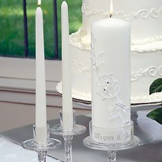 White Sparkling Entwined Unity Candle & Taper Set