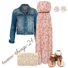 """""""Maxi dress with jeans coat"""" by tween-things-24 on Polyvore"""