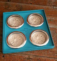 Vintage Birks Primrose Silver Plate And Crystal Coaster Ashtray Set, Glass…