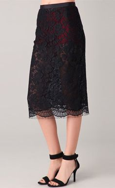 French Lace Midi Skirt