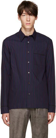 3.1 Phillip Lim - Navy & Purple Pyjama Shirt