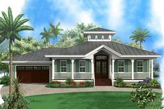 Big porches front and back give you amazing outdoor space in this Florida beach house that shines.The huge great room has a vaulted ceiling with a cupola above.From the great room you can see right into the kitchen and dining room, thanks to the open layout.Each of the two front bedrooms are large and comfortable.The master suite has double doors that lead out to the rear covered lanai.Related Plan: Get a larger version in reverse with house plan 66055GW(1,991 sq. ft.). Florida House Plans, Coastal House Plans, Beach House Plans, Florida Home, Beach House Decor, House Floor Plans, Florida Style, Beach Cottage Style, Coastal Cottage