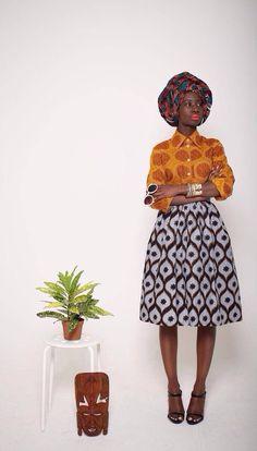African fashion- Mazel John skirt and shirt #print