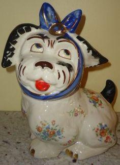 Fabulous Shawnee gold trim Muggsy dog cookie jar