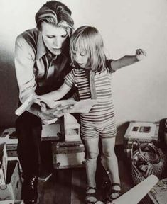 David Bowie with Zowie/Duncan in 1975.