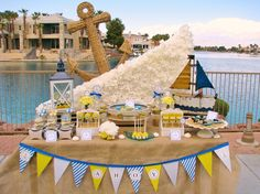 "Photo 1 of 28: Nautical Baby Shower / Baby Shower/Sip & See ""Ahoy, Baby!"" 